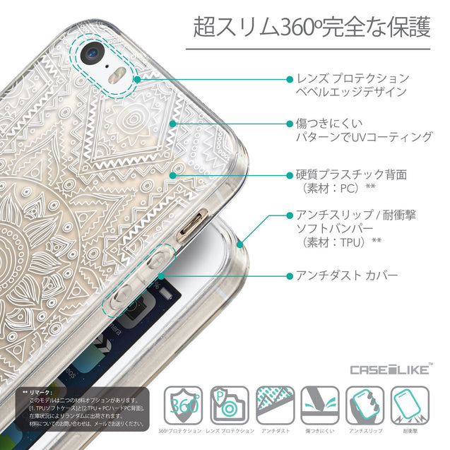 Details in Japanese - CASEiLIKE Apple iPhone SE back cover Indian Line Art 2061