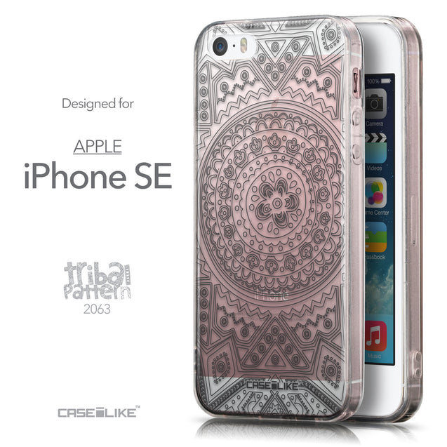 Front & Side View - CASEiLIKE Apple iPhone SE back cover Indian Line Art 2063