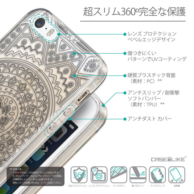 Details in Japanese - CASEiLIKE Apple iPhone SE back cover Indian Line Art 2063