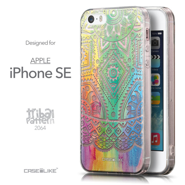 Front & Side View - CASEiLIKE Apple iPhone SE back cover Indian Line Art 2064