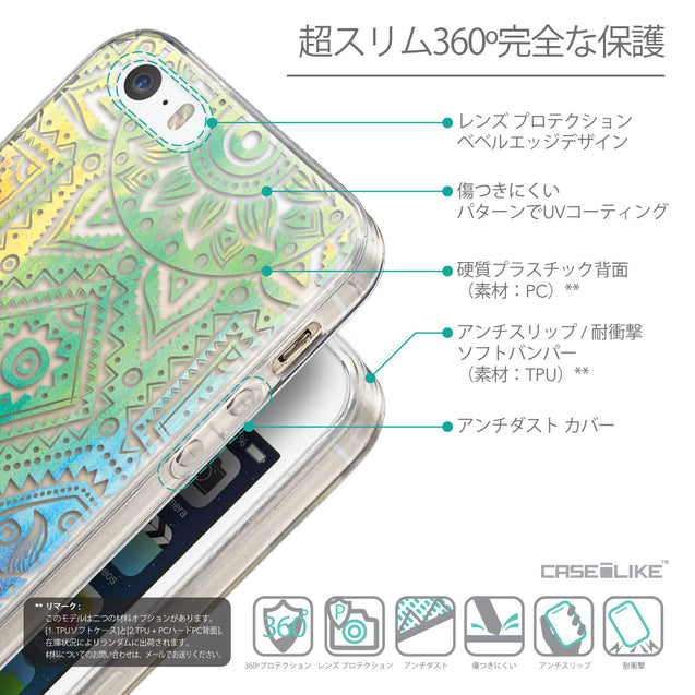 Details in Japanese - CASEiLIKE Apple iPhone SE back cover Indian Line Art 2064