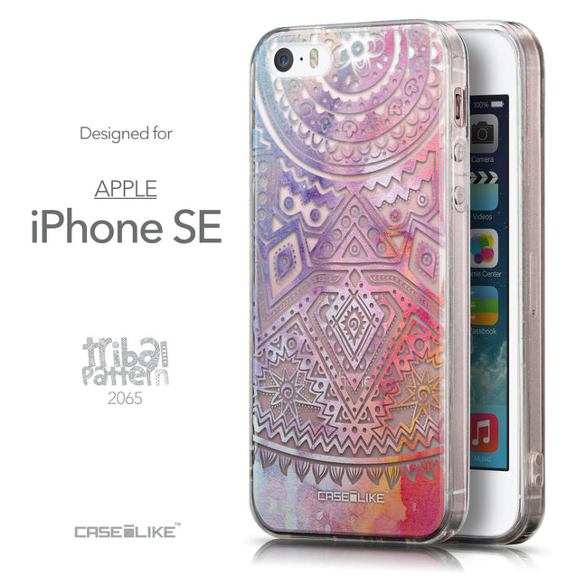 Front & Side View - CASEiLIKE Apple iPhone SE back cover Indian Line Art 2065
