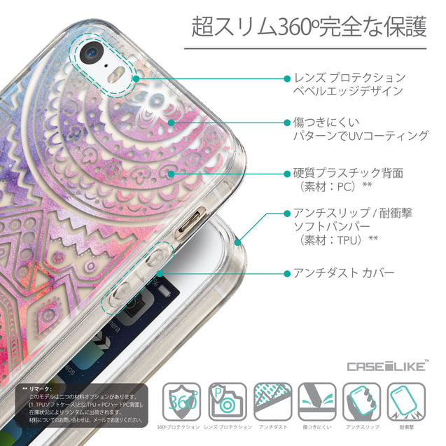 Details in Japanese - CASEiLIKE Apple iPhone SE back cover Indian Line Art 2065
