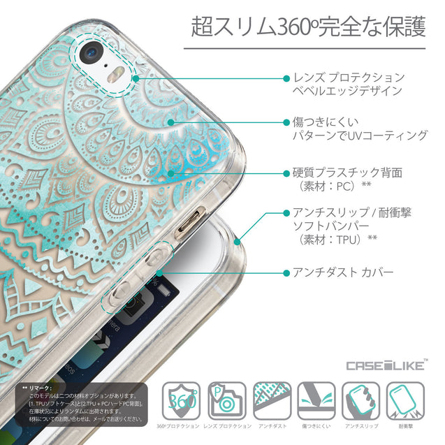 Details in Japanese - CASEiLIKE Apple iPhone SE back cover Indian Line Art 2066