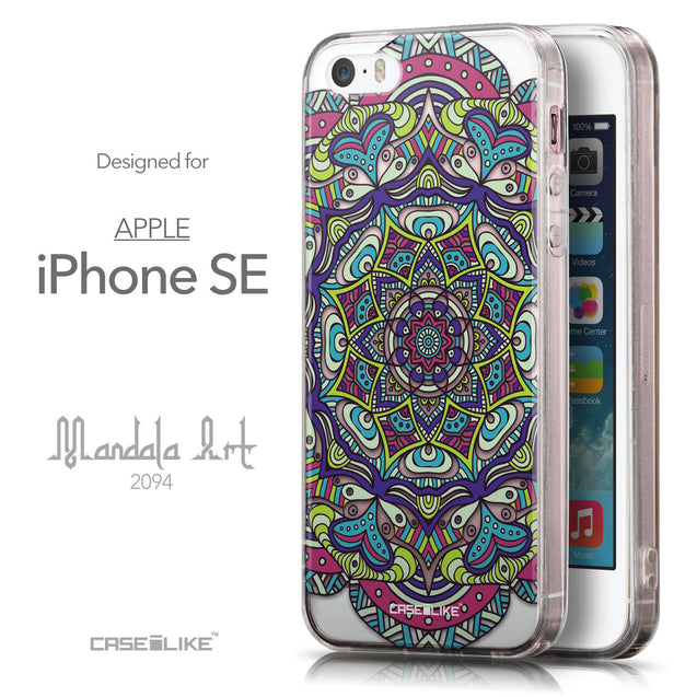 Front & Side View - CASEiLIKE Apple iPhone SE back cover Mandala Art 2094