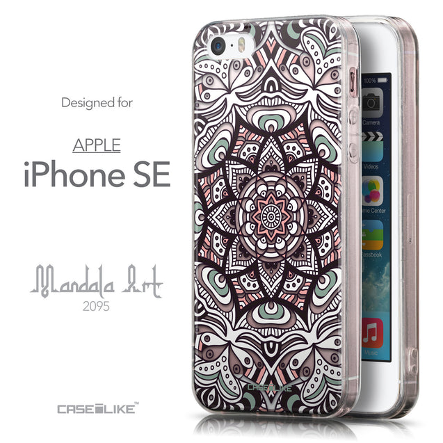 Front & Side View - CASEiLIKE Apple iPhone SE back cover Mandala Art 2095