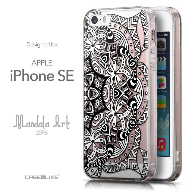 Front & Side View - CASEiLIKE Apple iPhone SE back cover Mandala Art 2096