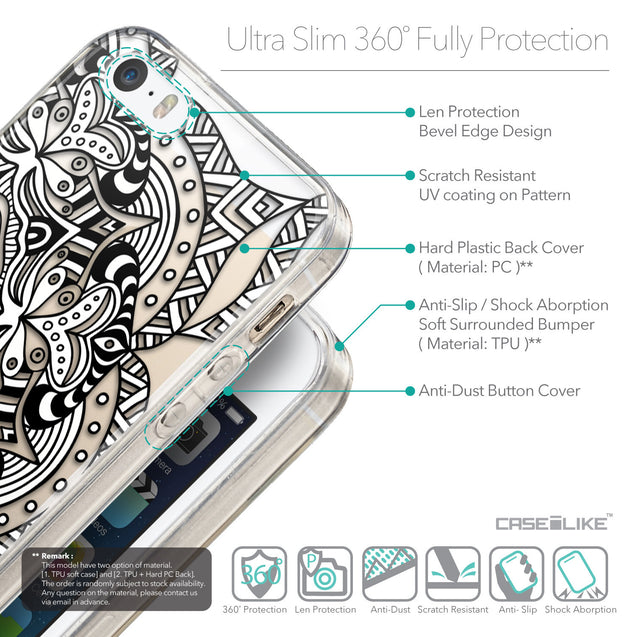 Details in English - CASEiLIKE Apple iPhone SE back cover Mandala Art 2096