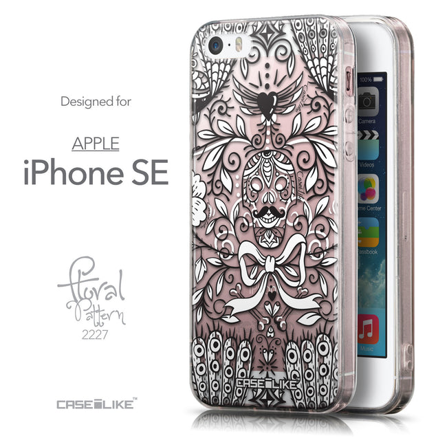 Front & Side View - CASEiLIKE Apple iPhone SE back cover Roses Ornamental Skulls Peacocks 2227