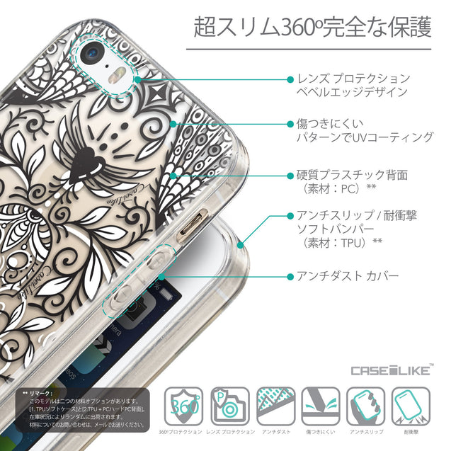 Details in Japanese - CASEiLIKE Apple iPhone SE back cover Roses Ornamental Skulls Peacocks 2227