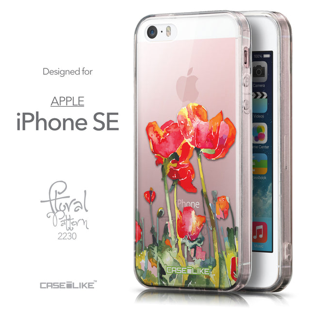 Front & Side View - CASEiLIKE Apple iPhone SE back cover Watercolor Floral 2230