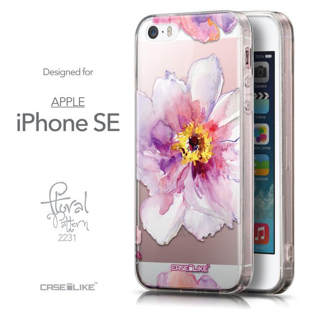 Front & Side View - CASEiLIKE Apple iPhone SE back cover Watercolor Floral 2231