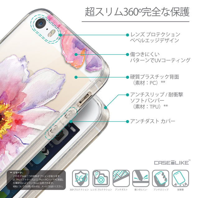 Details in Japanese - CASEiLIKE Apple iPhone SE back cover Watercolor Floral 2231