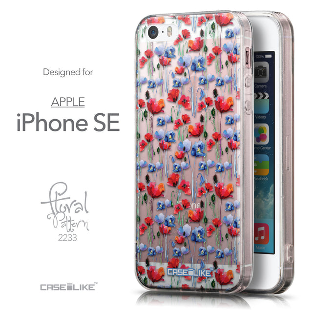 Front & Side View - CASEiLIKE Apple iPhone SE back cover Watercolor Floral 2233