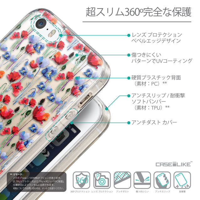 Details in Japanese - CASEiLIKE Apple iPhone SE back cover Watercolor Floral 2233