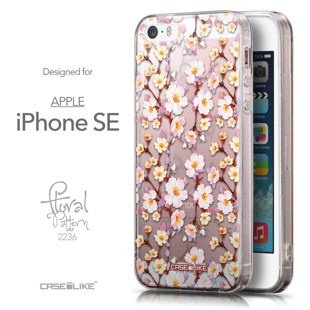 Front & Side View - CASEiLIKE Apple iPhone SE back cover Watercolor Floral 2236