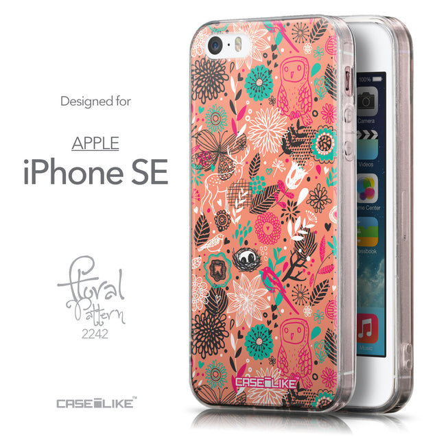 Front & Side View - CASEiLIKE Apple iPhone SE back cover Spring Forest Pink 2242