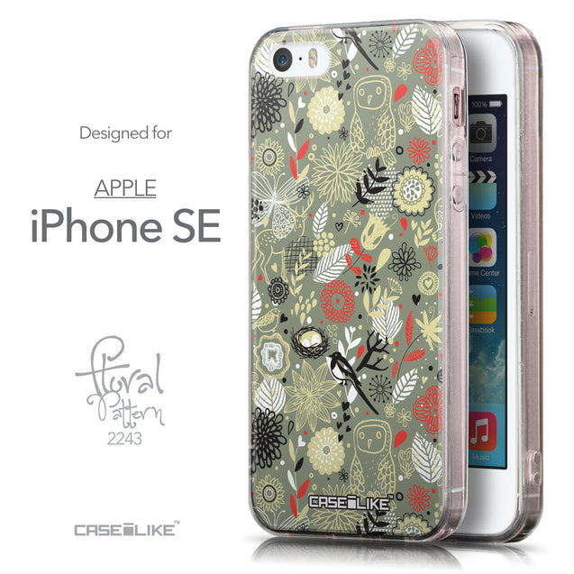 Front & Side View - CASEiLIKE Apple iPhone SE back cover Spring Forest Gray 2243