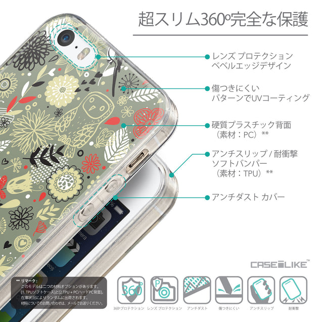 Details in Japanese - CASEiLIKE Apple iPhone SE back cover Spring Forest Gray 2243