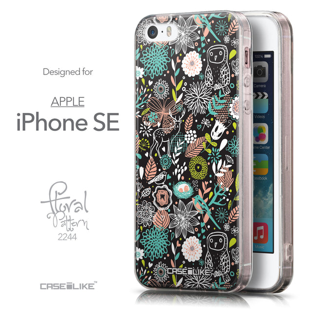 Front & Side View - CASEiLIKE Apple iPhone SE back cover Spring Forest Black 2244