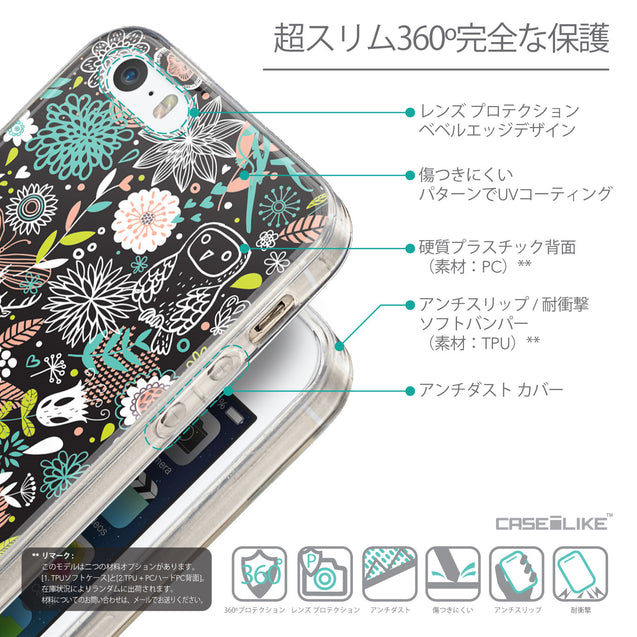 Details in Japanese - CASEiLIKE Apple iPhone SE back cover Spring Forest Black 2244