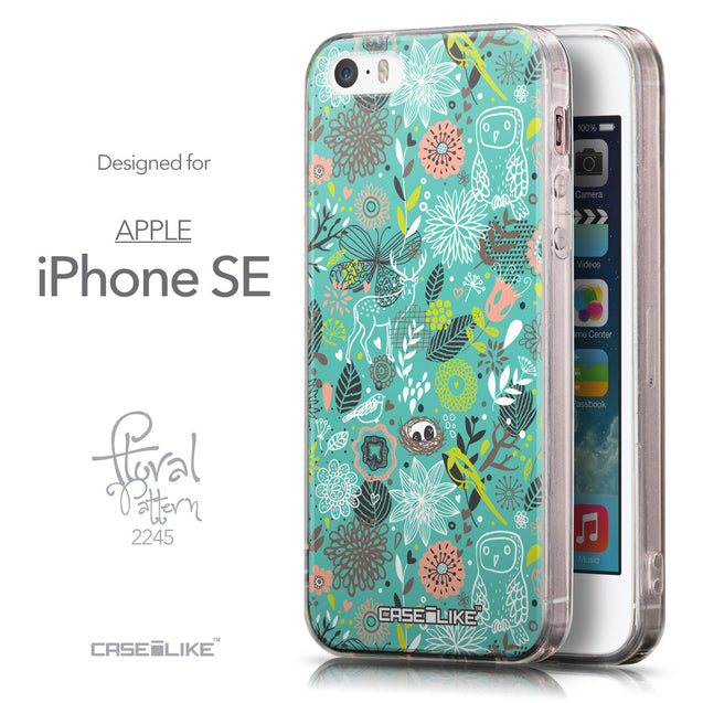 Front & Side View - CASEiLIKE Apple iPhone SE back cover Spring Forest Turquoise 2245
