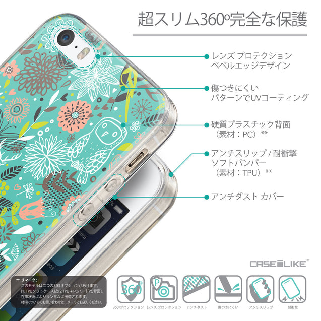 Details in Japanese - CASEiLIKE Apple iPhone SE back cover Spring Forest Turquoise 2245