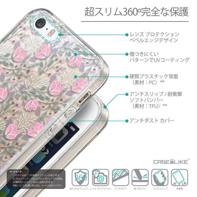 Details in Japanese - CASEiLIKE Apple iPhone SE back cover Flowers Herbs 2246