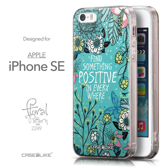 Front & Side View - CASEiLIKE Apple iPhone SE back cover Blooming Flowers Turquoise 2249