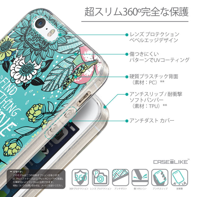 Details in Japanese - CASEiLIKE Apple iPhone SE back cover Blooming Flowers Turquoise 2249