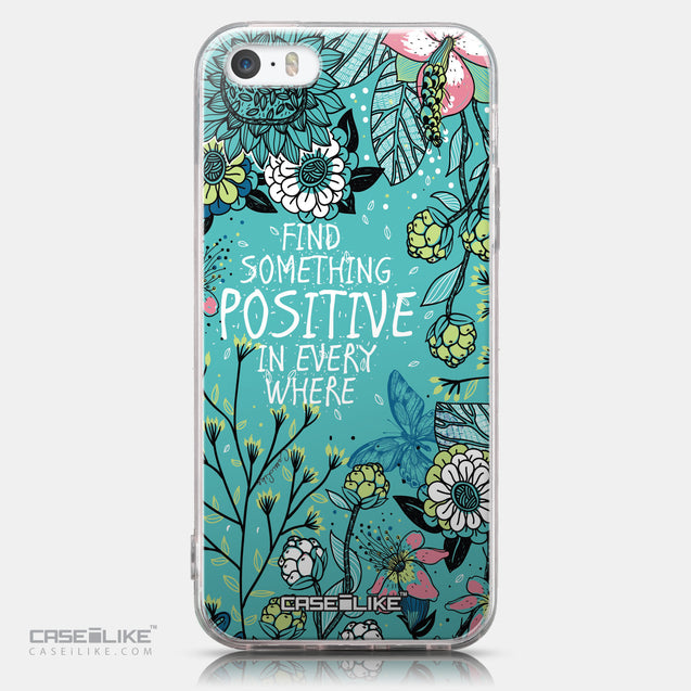 CASEiLIKE Apple iPhone SE back cover Blooming Flowers Turquoise 2249