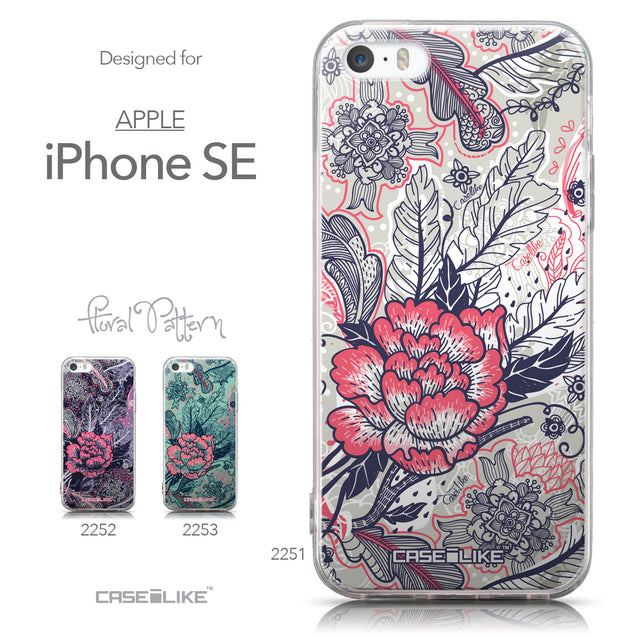 Collection - CASEiLIKE Apple iPhone SE back cover Vintage Roses and Feathers Beige 2251