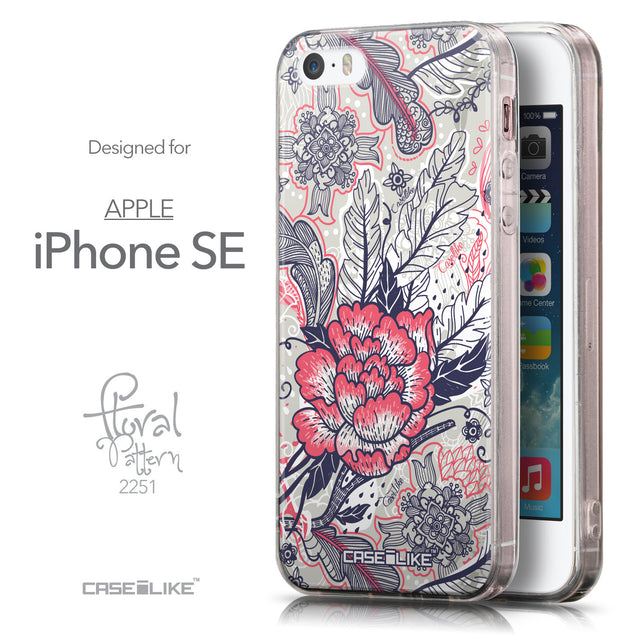 Front & Side View - CASEiLIKE Apple iPhone SE back cover Vintage Roses and Feathers Beige 2251