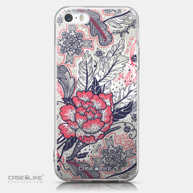CASEiLIKE Apple iPhone SE back cover Vintage Roses and Feathers Beige 2251