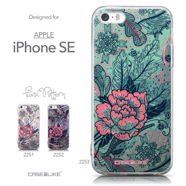 Collection - CASEiLIKE Apple iPhone SE back cover Vintage Roses and Feathers Turquoise 2253