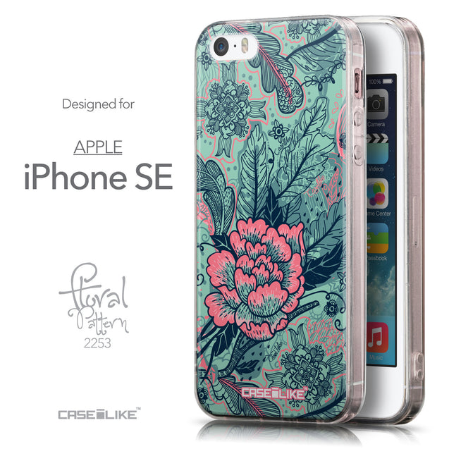 Front & Side View - CASEiLIKE Apple iPhone SE back cover Vintage Roses and Feathers Turquoise 2253