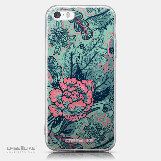 CASEiLIKE Apple iPhone SE back cover Vintage Roses and Feathers Turquoise 2253