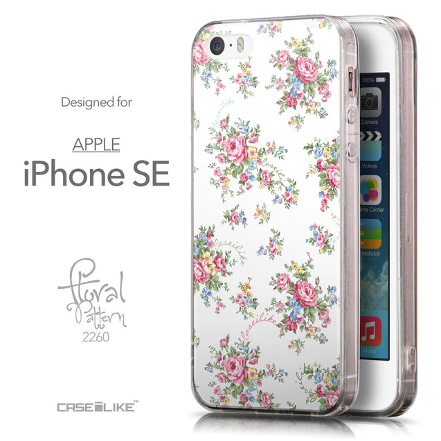 Front & Side View - CASEiLIKE Apple iPhone SE back cover Floral Rose Classic 2260