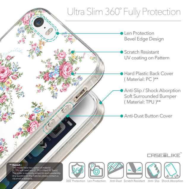 Details in English - CASEiLIKE Apple iPhone SE back cover Floral Rose Classic 2260