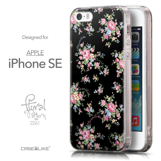 Front & Side View - CASEiLIKE Apple iPhone SE back cover Floral Rose Classic 2261