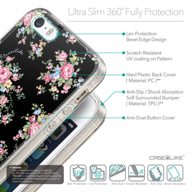Details in English - CASEiLIKE Apple iPhone SE back cover Floral Rose Classic 2261