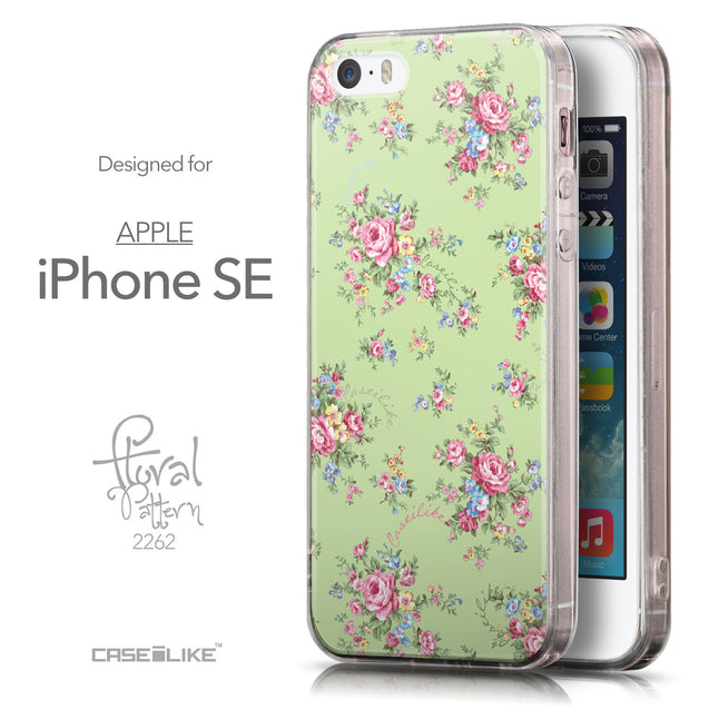 Front & Side View - CASEiLIKE Apple iPhone SE back cover Floral Rose Classic 2262