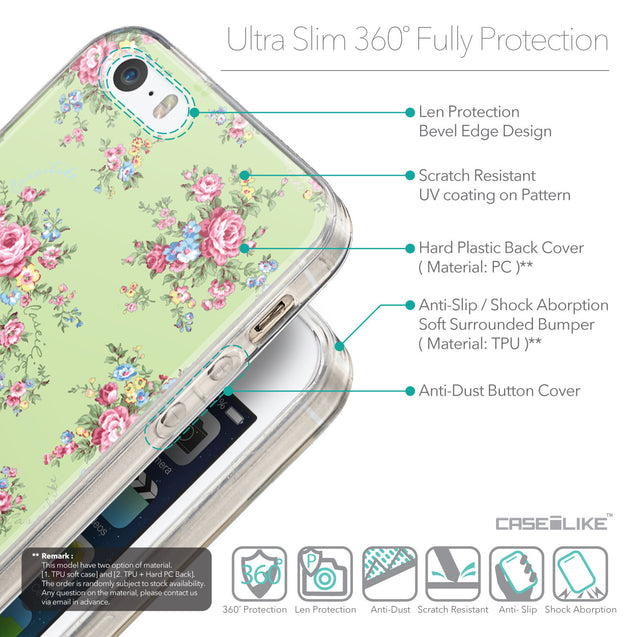 Details in English - CASEiLIKE Apple iPhone SE back cover Floral Rose Classic 2262