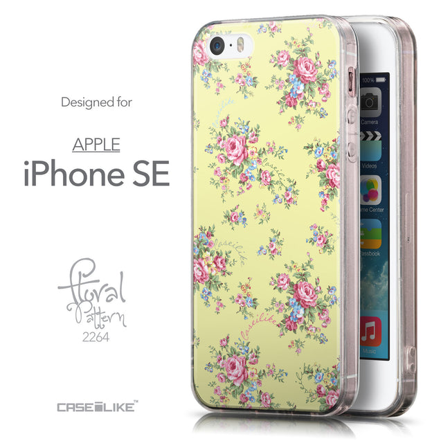 Front & Side View - CASEiLIKE Apple iPhone SE back cover Floral Rose Classic 2264