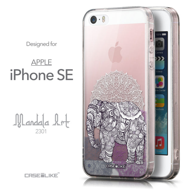 Front & Side View - CASEiLIKE Apple iPhone SE back cover Mandala Art 2301