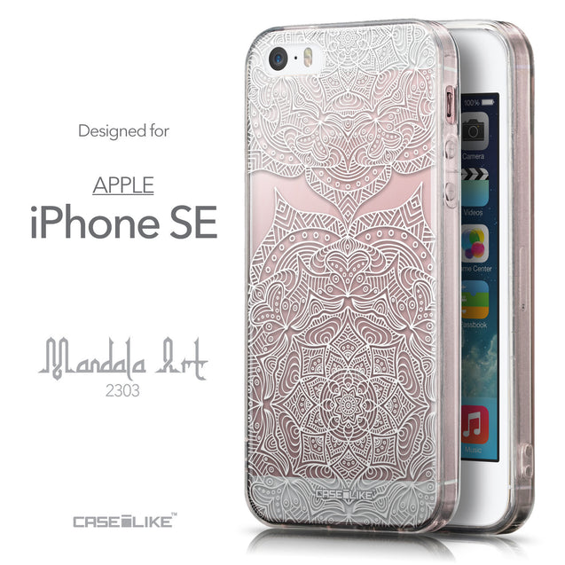 Front & Side View - CASEiLIKE Apple iPhone SE back cover Mandala Art 2303