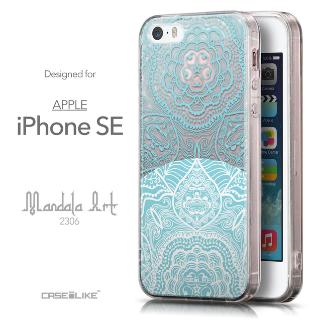 Front & Side View - CASEiLIKE Apple iPhone SE back cover Mandala Art 2306