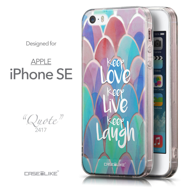 Front & Side View - CASEiLIKE Apple iPhone SE back cover Quote 2417