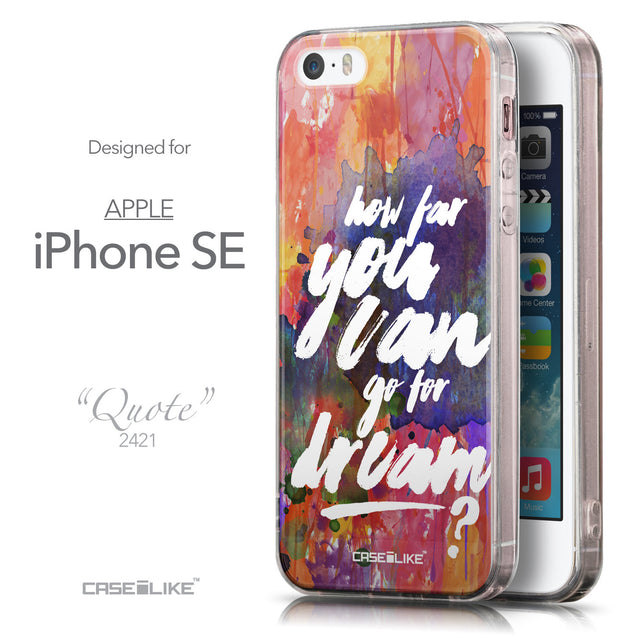 Front & Side View - CASEiLIKE Apple iPhone SE back cover Quote 2421