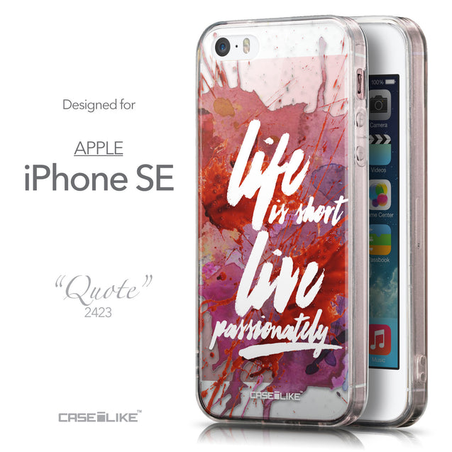 Front & Side View - CASEiLIKE Apple iPhone SE back cover Quote 2423